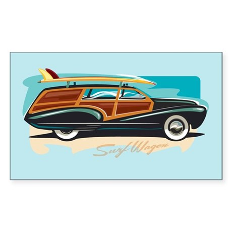 Surf Wagon Woody Rectangle Sticker