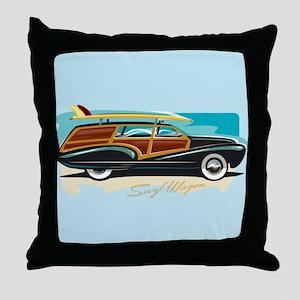 Surf Wagon Woody Throw Pillow