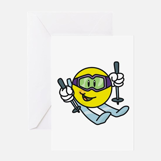 Smile Face Skiing Greeting Card