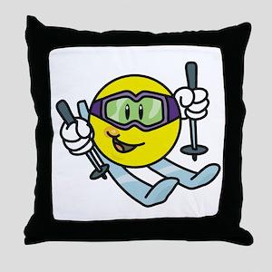 Smile Face Skiing Throw Pillow