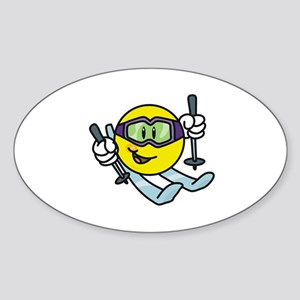 Smile Face Skiing Oval Sticker