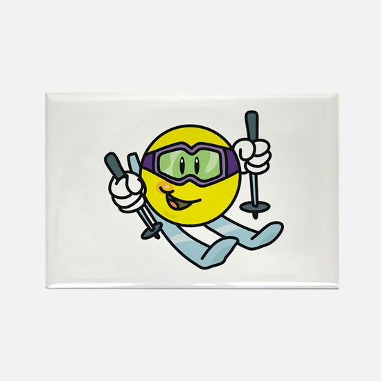 Smile Face Skiing Rectangle Magnet