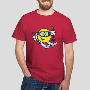 Smile Face Skiing Dark T-Shirt
