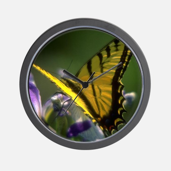 Yellow Swallowtail Butterfly Wall Clock