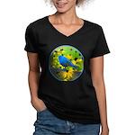 Indigo Bunting Women's V-Neck Dark T-Shirt