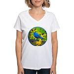 Indigo Bunting Women's V-Neck T-Shirt