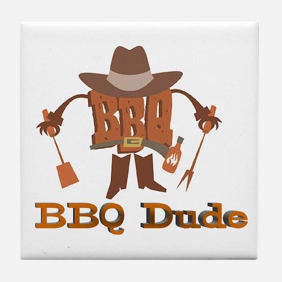 BBQ Dude Dad Tile Coaster