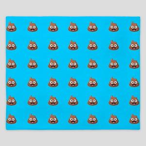 Poop Emoji Blue King Duvet