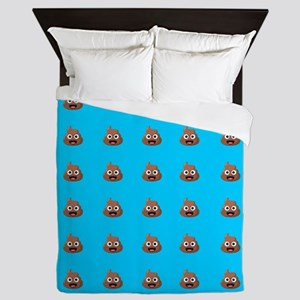 Poop Emoji Blue Queen Duvet