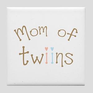Mom of Twins Boy Girl Tile Coaster