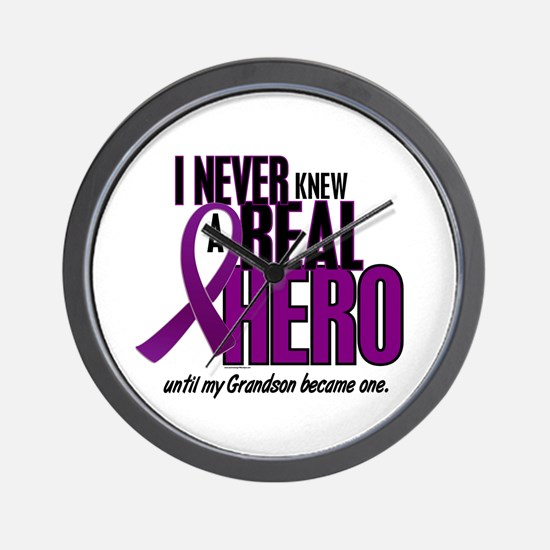 Never Knew A Hero 2 Purple (Grandson) Wall Clock