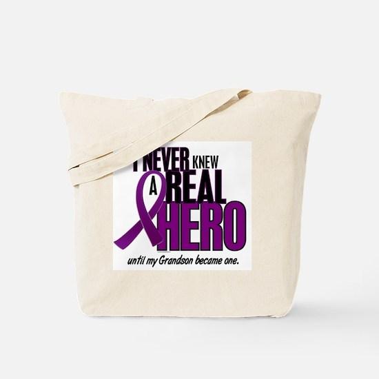Never Knew A Hero 2 Purple (Grandson) Tote Bag