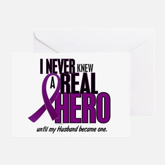 Never Knew A Hero 2 Purple (Husband) Greeting Card