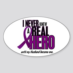 Never Knew A Hero 2 Purple (Husband) Sticker (Oval