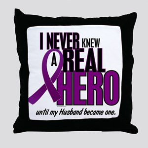 Never Knew A Hero 2 Purple (Husband) Throw Pillow