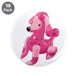 "Pink Poodle 3.5"" Button (10 pack)"