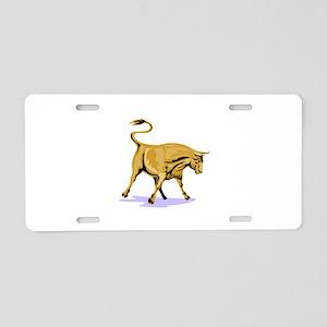 Raging Bull Attacking Retro Aluminum License Plate