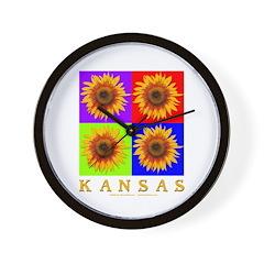 Kansas - Sunflower Squares Wall Clock