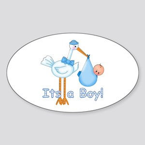 It's a Boy! Stork Oval Sticker