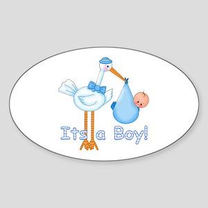 It's a Boy! Stork Oval Sticker