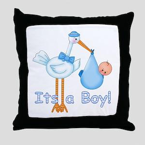 It's a Boy! Stork Throw Pillow