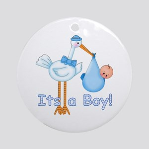 It's a Boy! Stork Ornament (Round)