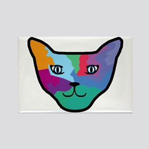 Pop Art Cat Face Rectangle Magnet