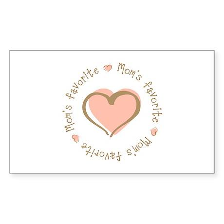 Mom's Favorite Girl Heart Rectangle Sticker