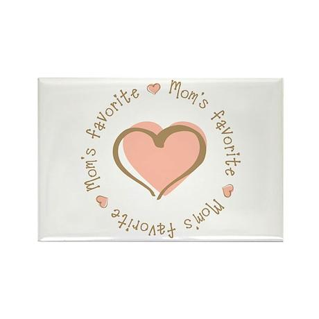 Mom's Favorite Girl Heart Rectangle Magnet (10 pac