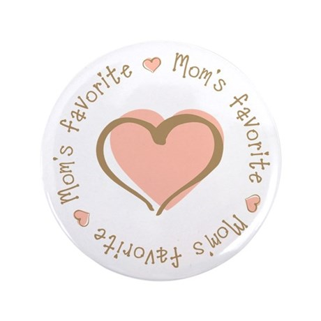 "Mom's Favorite Girl Heart 3.5"" Button"