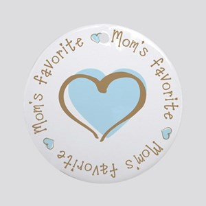 Mom's Favorite Boy Heart Ornament (Round)