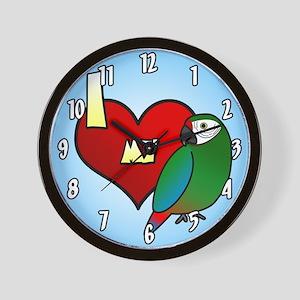 I Love My Military Macaw Clock (Cartoon)