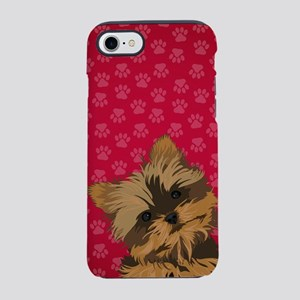 Yorkie Face (red) iPhone 8/7 Tough Case