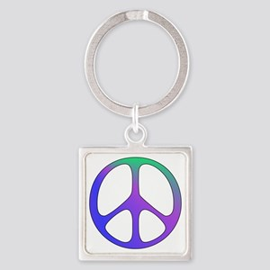 Rainbow Colored Peace Sign Square Keychain