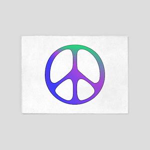 Rainbow Colored Peace Sign 5'x7'Area Rug