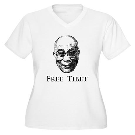 HH Dalai Lama Free Tibet Women's Plus Size V-Neck