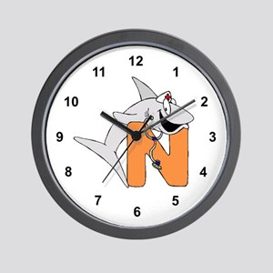 N is for shark Nurse Wall Clock