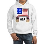 Patriotic USA Pug Dogs Hooded Sweatshirt