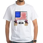 Patriotic USA Pug Dogs White T-Shirt