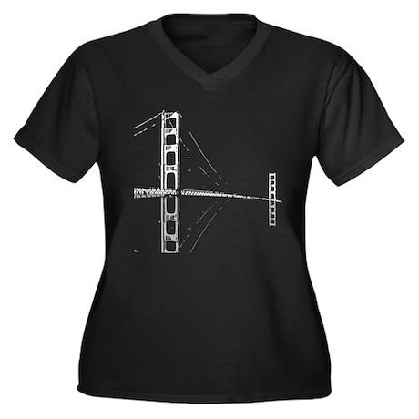 Golden Gate Faded Women's Plus Size V-Neck Dark T-