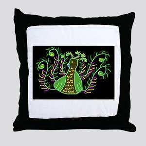 Glowing Peacock Throw Pillow