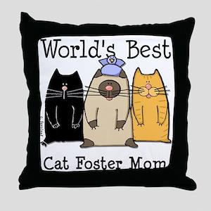 World's Best Cat Foster Mom Throw Pillow