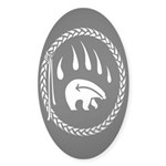 Tribal Bear Claw Sticker (Oval 50 pk)