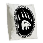 Tribal Bear Claw Burlap Throw Pillow