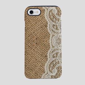 shabby chic burlap lace iPhone 8/7 Tough Case