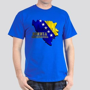 Flag Map of Bosnia Dark T-Shirt