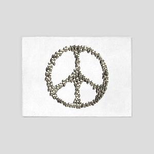 Skulls Peace Sign 5'x7'Area Rug