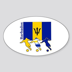 Barbados Soccer Oval Sticker (10 pk)