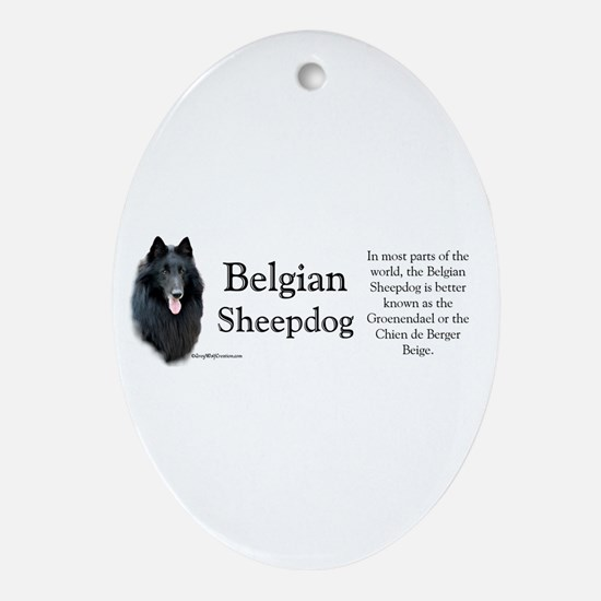 Belgian Sheep Profile Oval Ornament