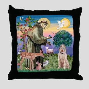 Saint Francis /Spinone(w) Throw Pillow